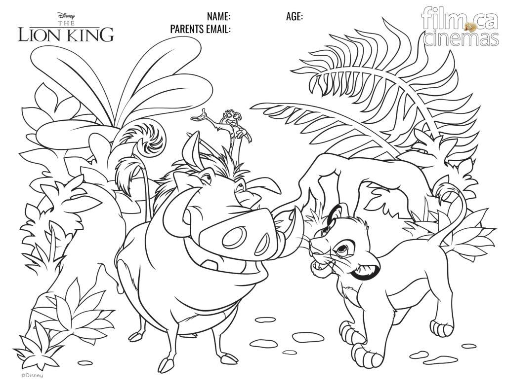 The Lion King Colouring Contest Film Ca Cinemas In Oakville On